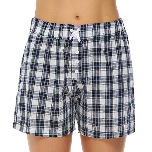 Hawiton Damen Schlafanzughose Karierte Pyjama Hose Kurz Sommer Shorts Nachtwäsche aus Baumwolle Blau S