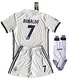 Cristiano Ronaldo, Real Madrid F.C.-Maglia da calcio#7-Pantaloncini, Maglietta da bambini/ragazzi, 11-13 anni