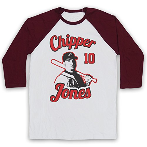 Inspired Apparel Inspiriert durch Chipper Jones Atlanta Braves Baseball Inoffiziell 3/4 Hulse Retro Baseball T-Shirt, Weiß & Burgund, Large (Atlanta Baseball Chipper Jones Braves)