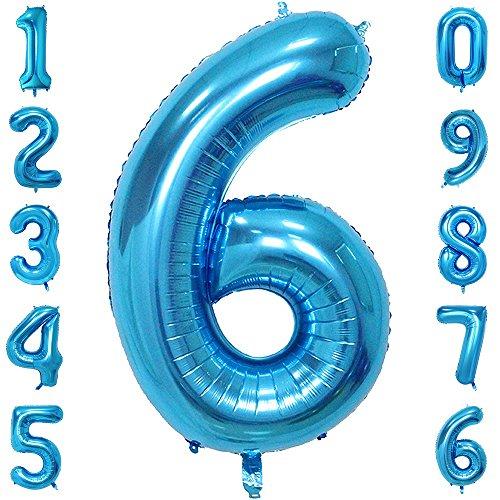 40-Zoll 0-9 in Blau Nummer Foil Ballons Helium Zahlenballon Luftballon Riesenzahl Party Hochzeit Kindergeburtstag Geburtstag Nummer 6