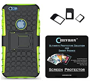 Chevron Tough Hybrid Armor Back Cover Case with Kickstand for Apple iPhone 6, Apple iPhone 6s with HD Screen Guard & Multi Sim Adapter (Green)