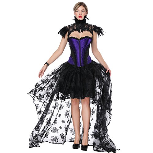 FeelinGirl Damen Korsagekleid Steampunk Gothic Kostüm Magic Mistress Hexenkostüm Teufelchen Halloween Cosplay - Sexy Halloween Pirat Kostüm