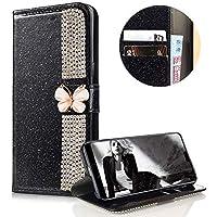 Schwarz Strass Brieftasche für Huawei P20 Lite,PU Leder Handyhülle für Huawei P20 Lite,Moiky Luxus Diamante 3D Schmetterling Magnetisch Diamant Folio Kunstleder Stand Schutzhülle