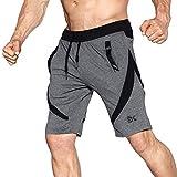 EK Pantaloncini Sportivi da Palestra da Uomo (M, Grey)