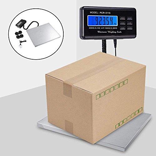 bilancia industriale Bilancia Postale Digitale Piattaforma Impermeabile in Acciaio inox Base con display deportato,peso magazzino 150kg x 50g, 300kg x 100g