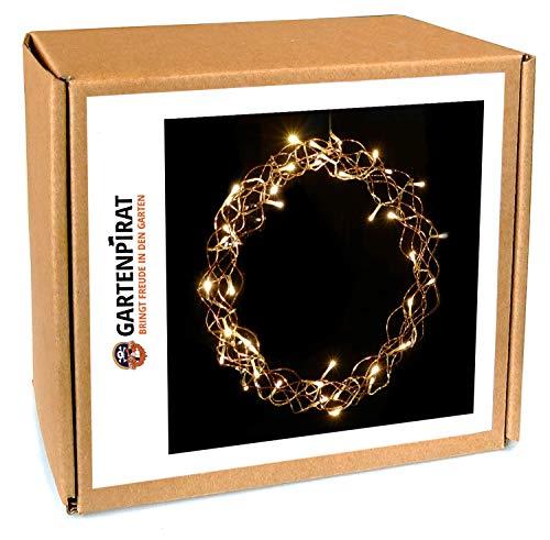 Gartenpirat Lichterkranz 40 LED beleuchtet Ø 40 cm Metall Deko Türe Fenster für Weihnachten