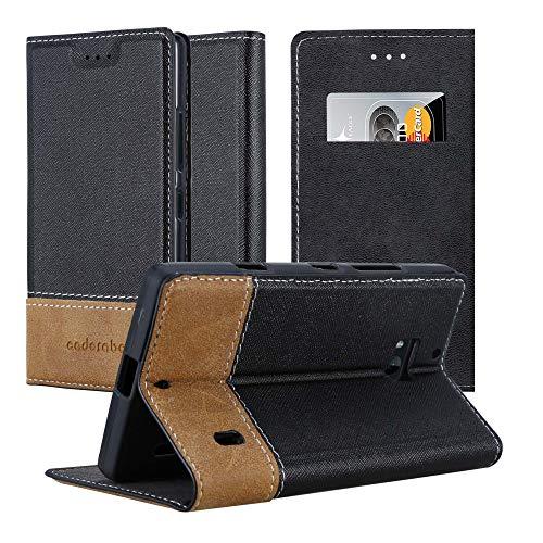 Cadorabo custodia libro per nokia lumia 930 in nero marrone - con vani di carte, funzione stand e chiusura magnetica - portafoglio cover case wallet book etui protezione