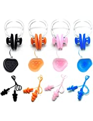 Zooshine Waterproof Corded String Silicone Swimming Ear Plugs Nose Clip with Box, Set of 4