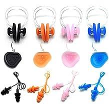 zooshine impermeable natación silicona cordón tapones para los oídos y nariz Clip con relieve con caja, juego de 4
