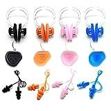 Zooshine - Tapones para los oídos con cordón para practicar natación (impermeable, silicona, pinza para la nariz, con caja, juego de 4 unidades)