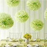 10er Pompoms, BDM Pompons DIY Papierblumen Dekoration für Hochzeit/Geburtstag/ Baby Shower/ Weihnachten Grün Seidenpapier Blumen
