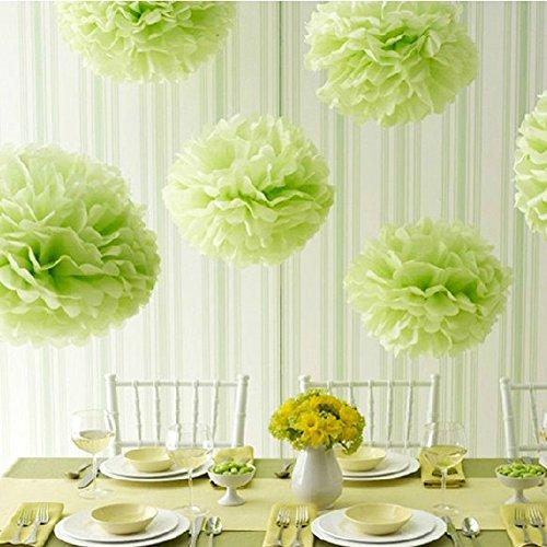 mpons DIY Papierblumen Dekoration für Hochzeit/Geburtstag/ Baby Shower/ Weihnachten Grün Seidenpapier Blumen (Weihnachten Seidenpapier)