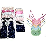 First Smile Newborn Baby Gift Set-Combo Pack Of 18 Pcs Nappies Pack Of 6 Pcs, Jhabla Sleevless Pack Of 6 Pcs In Hosiery Material And Quilted Bib Pack Of 6 PcsQuick Dry   Reusable   Soft Cotton   Comfortable   For Newborn   Infant   Washable For Babies