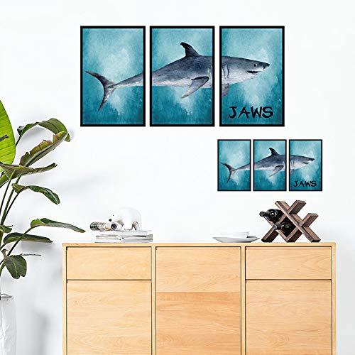 LQRRHY Big White Shark Frame Triple Malerei Wandaufkleber 3D Wandaufkleber Wohnkultur Wohnzimmer Aufkleber Wandbild