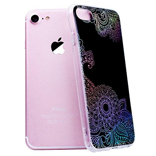 GrandEver iPhone 7 / iPhone 8 Glitzer Hülle Silikon Handyhülle Gel TPU Bumper Bunt Mandala Schutzhülle Schwarz Handytasche Anti-Kratzer Rückschale Ultra Dünnen Soft Case Cover - C B