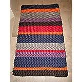 Teppich aus Schurwolle-Kammzug ca. 80x140 cm Streifen