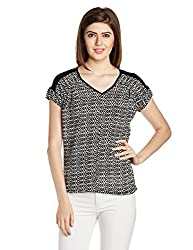 Van Heusen Womens Abstract Print T-Shirt (VWCT515D01105Short Sleeve_Black With White_XS)