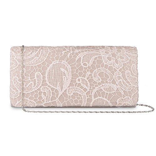 Baglamor Mädchen Elegante Blumenspitze Handtasche Abendtasche Clutch Handtasche Hochzeit Handtasche Kette Tasche