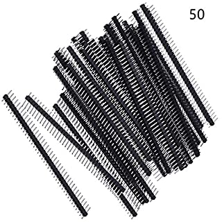Lvcky 50 Pack Single Row 40 Pin 2.54 mm Male Pin Header Connector