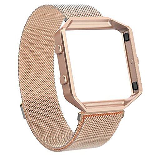 Providethebest Edelstahl-Armband Ersatz Blacelet Kette Intelligente magnetische Schleife Uhr-Gurt-B¨¹Gel mit Rahmen f¨¹r Fitbit Rose Gold
