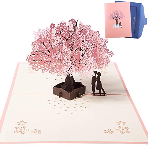 NACTECH Hochzeitskarte 3D Geburtstagskarte Pop up Glückwunschkarte Hochzeit Grußkarte Liebe Kirschblüte 3D Karte mit Umschlag für Hochzeitstag Brautpaar Frauen Freundin -