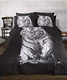 Ropa de cama funda de edredón de tigre cielo impresionante. Quirky fotográficas impresión Animal edredón Set. Blanco y Negro. Único,