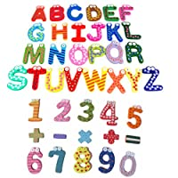 Topro Cute Eyes Funky Fun Colourful Wooden Magnetic Alphabet Letter / Numbers Refrigerator Fridge Magnets (Alphabet + Numbers + Symbols)