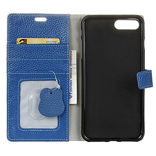 """MOONCASE iPhone 7 Coque, Livre Style Housse en Prime Cuir Etui à rabat iPhone 7 4.7"""" Portefeuille Porte-cartes TPU Case avec Béquille Bleu Bleu"""