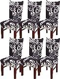 HYHYEU22Chaise 6pièces, Lavable Amovible élastique Housse Chaise avec Dossier C