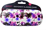 Glamour Essentials Designer Hard Glasses Case for Ladies High Protection for Spectacles in White with Pink Purple & Black Flowers
