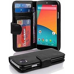 Cadorabo Coque pour LG Nexus 5 en Noir DE Jais - Housse Protection avec Fermoire Magnétique et 3 Fentes Cartes - Portefeuille Etui Poche Folio Case Cover