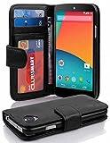 Cadorabo Hülle für LG Nexus 5 Hülle in Handyhülle mit 3 Kartenfächern Case Cover Schutzhülle Etui Tasche Book Klapp Style Oxid Schwarz