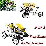 Hansemay 2 in 1 Kinderwagen Kinderwagen, Doppelsitze Faltbare Baby-Kinderwagen mit Träger Fahrrad (Gelb)