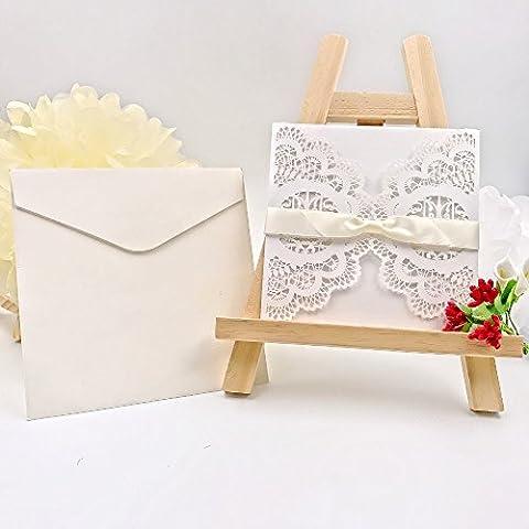 JZK® 20 x 4 in 1 Einladung Karten: Hohle Hülse + leere Karte + Umschlag + Bowknot, für Hochzeit Geburtstag Babyparty Taufe Party Baby Shower, weiß Vögel (set 4)