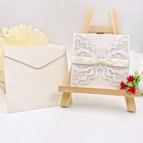 JZK® 20 X 4 In 1 Einladung Karten: Hohle Hülse + Leere Karte + Umschlag +  Bowknot, Für Hochzeit Geburtstag Babyparty Taufe Party Baby Shower, ...