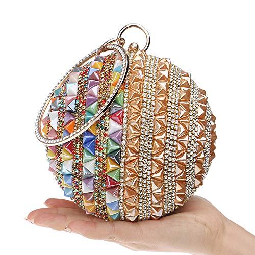 ZYXB Frau runde Kugel Kupplung Handtasche Strass Ring Griff geldbörse Abendtasche Gold & Farbe,A1 - Ring Diamond Wedding Frau