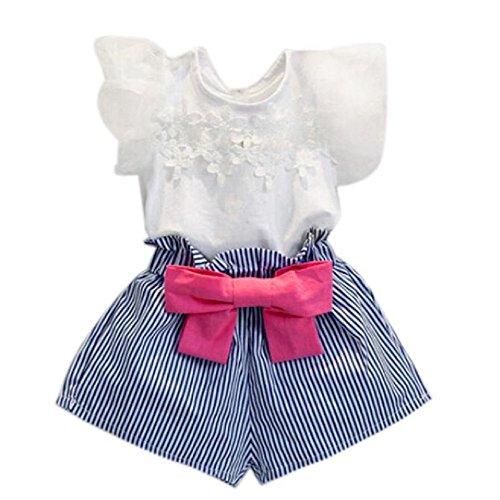 Sunday Mädchen Lace T-Shirt + Streifen Shorts Set Kleidung Anzug kurzer Arm Shirt Baby Kleider Spitze Bowknot Kurzarm (Weiß, Alter: - Hund Mädchen-kleidung Kleiner