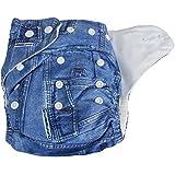 Lukzer 1 Pc Reusable Baby Diaper With 2Pcs Liners (Denim)