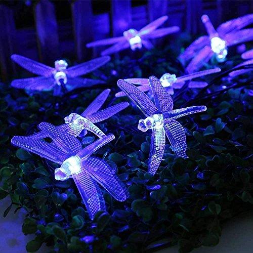 Le Luci Libellule, EONANT 20FT/6M 30 Luci Solari a LED con 2 Luci di Moda Impermeabili per Outdoor, Giardino, Decorazioni Natalizie (Blu)