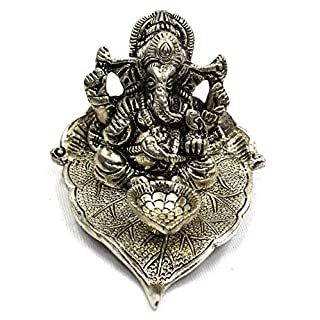 AMBA HANDICRAFT Ganesh statue with diya india temple handicraft oxidised metal white metal antique for gift festival diwali traditional couple carved designer decorative good luck interior.X104