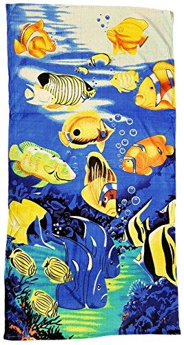 Drap de plage 70 x 140 cm, serviette Motif corail poissons, Drap de bain 100% coton microfibre