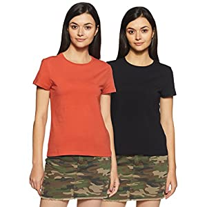 Amazon Brand – Symbol Women's Plain T-Shirt (Pack of 2)