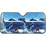 ewinever(TM) Dolphin plegable frente auto Sun trasero parabrisas de la cortina del visera del coche de la cubierta 130 * 60