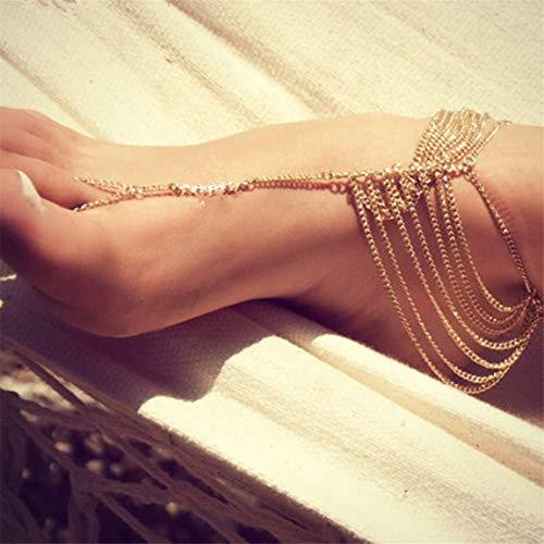 Weiy Bohemian Mehrschichtige Goldkette Fußkettchen mit Zehenring Kette Frauen Mädchen Fahsion Charming Vintage Stilvoll Exquisite Yoga Strand Fußschmuck