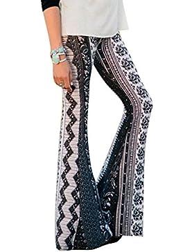 Pantalones mujer Pantalones bootcut cómodos - Hibote Pantalones acampanados de cintura alta Estampado de flores...