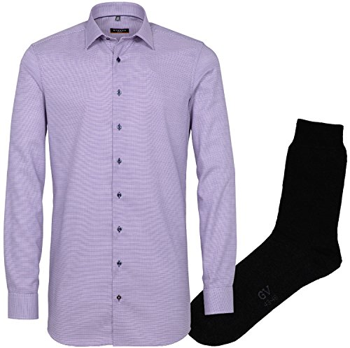 ETERNA Herrenhemd Slim Fit, flieder-lila, Struktur Stretch + 1 Paar hochwertige Socken, Bundle Flieder-Lila