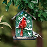 Gifted Living Embossed Glass and Metal Cardinal Bird Feeder
