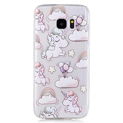 Coque Samsung Galaxy S7 Edge, JIEJIEWYD Anti-Fingerprint Case Housse Étui Soft Doux TPU Silicone Flexible Backcover Ultra Mince Coque - licorne/Ballons colorés/arc en ciel