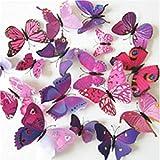 SOLEDI 12pcs 3D Butterfly Sticker Design Decal Wall Mural Decals Decor Decorations