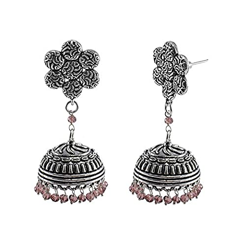 Indian Classical Traditional Vintage Flower Jhumkis With Amethyst Crystal Beads -Crafted By Silvestoo India PG-111264